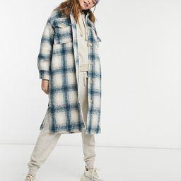 Pull&Bear long overshirt shacket in blue and tan plaid   ASOS (Global)