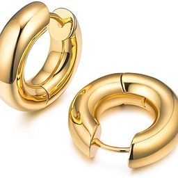 18K Gold Plated Chunky Tiny Hoop Earrings for Women Elegant Gift Box Packaged   Amazon (US)