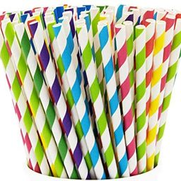 Paper Drinking Straws [200 Pack] 100% Biodegradable - Assorted Colors | Amazon (US)