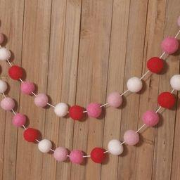 Valentine's Day Garland - Red, White & Pink, Valentine's Day Decor, Valentines Day Banner, Valent... | Etsy (US)