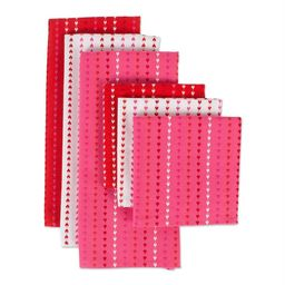 DII Hearts Dobby Stripe Dishtowel & Dishcloth (Set of 6), 100% Cotton | Walmart (US)