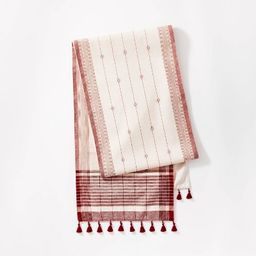 """14"""" x 88"""" Table Runner Cotton Jacquard Red - Threshold™ designed with Studio McGee 
