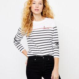 Love Stripe Long Sleeve Tee | LOFT