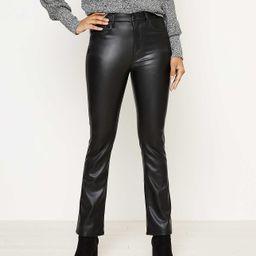 Faux Leather Flare Crop Jeans in Black | LOFT