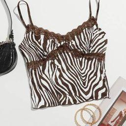 SHEIN Zebra Striped Lace Cami Top   SHEIN