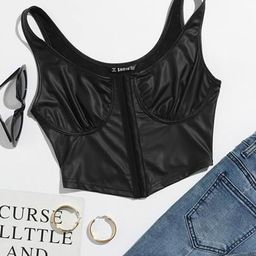 SHEIN Faux Leather Bustier Cropped Tank Top   SHEIN