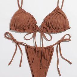 Frill Trim Tie Side Bikini Swimsuit | SHEIN