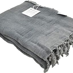 InfuseZen Stonewashed Turkish Throw Blanket in Charcoal Grey/Faded Black, Soft, Cozy and Lightwei... | Amazon (US)