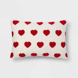 Lumbar Sherpa Valentine's Day Hearts Pillow Cream -Spritz™ | Target