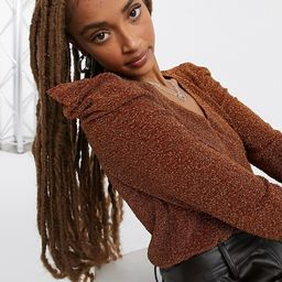 Moon River ruched sparkle top in rust | ASOS (Global)