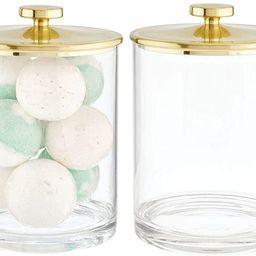 mDesign Modern Plastic Round Bathroom Vanity Countertop Storage Organizer Apothecary Canister Jar... | Amazon (US)