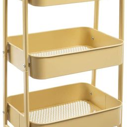 AGTEK Makeup Cart, Movable Rolling Organizer Cart, Khaki Yellow 3 Tier Metal Utility Cart | Amazon (US)