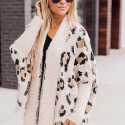 Caught Your Gaze Animal Print Cream Cardigan   The Pink Lily Boutique