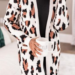 She's Always In Charge Cream Animal Print Cardigan   The Pink Lily Boutique