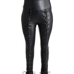 Fashionomics Women's Leggings BLACK - Black Lace-Up Faux Leather Leggings - Plus Too | Zulily