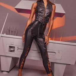 Womens Premium Lace Up Front Faux Leather Pants - Black - 2 | Boohoo.com (US & CA)