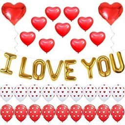 I LOVE YOU Balloons for Valentines Day Decorations - Pack of 35 | I Love You Balloon Banner, Prin... | Amazon (US)