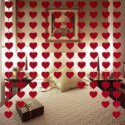 Valentines Day Decorations - 80 PCS Red Felt Garland Hanging String Hearts - NO DIY - Valentines ... | Amazon (US)