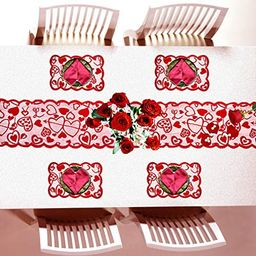 Beeager 5 Pack Valentines Day Decorations Sets - Valentines Day Table Runner (13 x 72 Inch) and P... | Amazon (US)