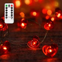 Aetegit 16 Ft 50 LED Lights Valentines Day Decorations with Remote,Red Heart Shaped Twinkle Fairy... | Amazon (US)
