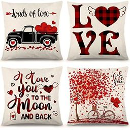 YGEOMER Valentine's Day Pillow Covers 18×18 Inch Set of 4 Black and Red Buffalo Plaid Pillow Cov... | Amazon (US)