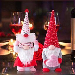 2Pack Valentines Gnomes Plush Decorations -Valentines Day Mr & Mrs Handmade Swedish Tomte Stuffed... | Amazon (US)