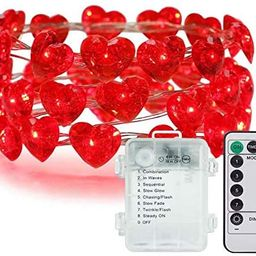 String Lights 10 ft 40 LEDs Red Heart Shaped Twinkle Fairy Lights Battery Operated for Bedroom We... | Amazon (US)
