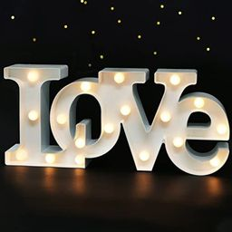 """Bright Zeal 16"""" x 7"""" Large LOVE Bedroom Decor Lights LED Marquee Letters (WHITE) - LOVE Sign For ... 
