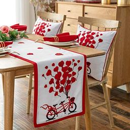 Cassiel Home Bicycle with Balloons Table Runner Valentine's Day Love Red Heart Party Decoration R... | Amazon (US)