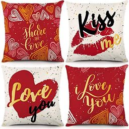 YGEOMER Valentines Day Pillow Covers 18x18 inch Set of 4 for Red Love Heart Cushion for Valentine... | Amazon (US)