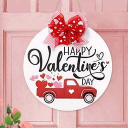 Zingoetrie Happy Valentine's Day Wooden Round Door Hanger Red Heart Truck Front Wall Sign Rustic ... | Amazon (US)
