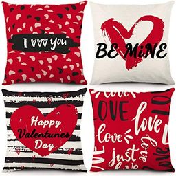YGEOMER Valentine's Day Throw Pillow Case Cushion Cover Love Hearts red&Black Home Decor 18 x 1... | Amazon (US)