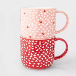 15oz 2pk Stoneware Hearts Mugs Red/Pink - Opalhouse™ | Target