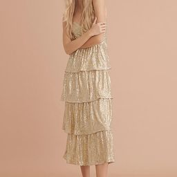 Bexley Tiered Sequined Midi Dress By Saylor NYC in Gold Size M | Anthropologie (US)