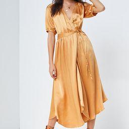 Katrina Midi Wrap Dress By Maeve in Gold Size 1 X | Anthropologie (US)