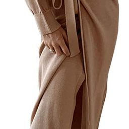 Exlura Womens Knit Sweater Dress Casual Solid Long Sleeve Wrap Maxi Dresses with Belt   Amazon (US)