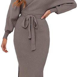 Viottiset Women's V Neck Long Batwing Sleeve Wrap Midi Knit Sweater Dress Elegant Backless with B...   Amazon (US)