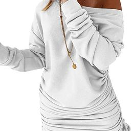 Esobo Women's Fleece Long Sweatshirt Dress Off Shoulder Pullover Casual Long Sleeve Bodycon Mini ...   Amazon (US)