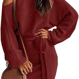 Clarisbelle Womens Winter One Shoulder Batwing Sleeve Belted Sweater Dress   Amazon (US)