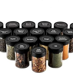 AllSpice 3 Ounce Glass Spice Jars with Black Plastic Lids and 3 Styles of Shaker Tops- 18 Pack | Amazon (US)