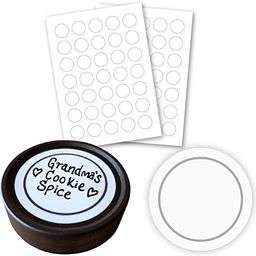 """AllSpice 70 White Water Resistant Round Spice Jar Labels Set 1.5""""- Fits Penzeys and AllSpice Jars... 