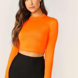 SHEIN Neon Orange Mock Neck Solid Crop Tee   SHEIN