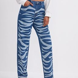 High Waist Allover Print Straight Leg Jeans   SHEIN