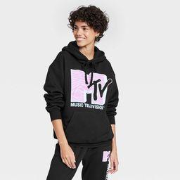 Women's MTV Pink Logo Hooded Graphic Sweatshirt - Black | Target