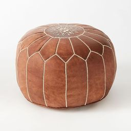 Leather Moroccan Pouf, Tan   West Elm (US)