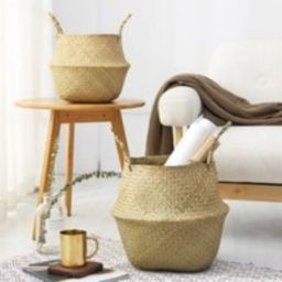 Handmade Seagrass Weave Plant Storage Basket, Basket With Handle, Rattan Straw Handmade, Home Decor,   Etsy (US)