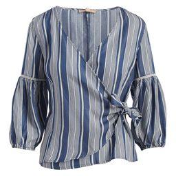 Joy Mark Women's Blouses STRIPE - Blue Stripe Surplice Top - Women   Zulily