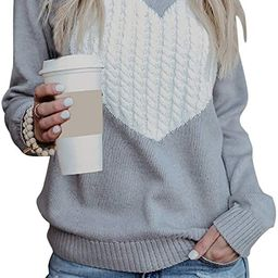 shermie Women's Pullover Sweaters Long Sleeve Crewneck Cute Heart Knitted Sweaters | Amazon (US)