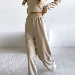 Ribbed Long Sleeves Knit Top and Wide-Leg Pants Set   Chicwish