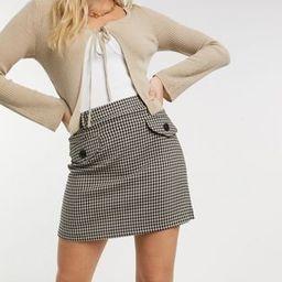 Miss Selfridge pocket front mini skirt in brown checkered | ASOS (Global)